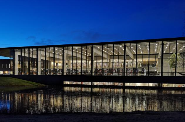 Roskilde University Library. The building seen from the outside at night