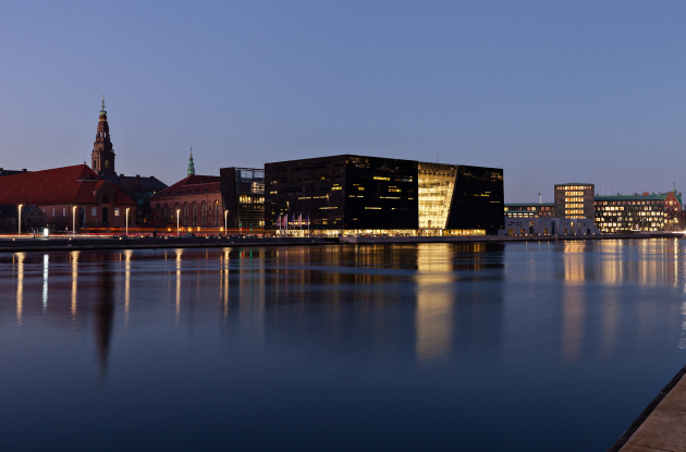 The Black Diamond in evening lighting across the canal