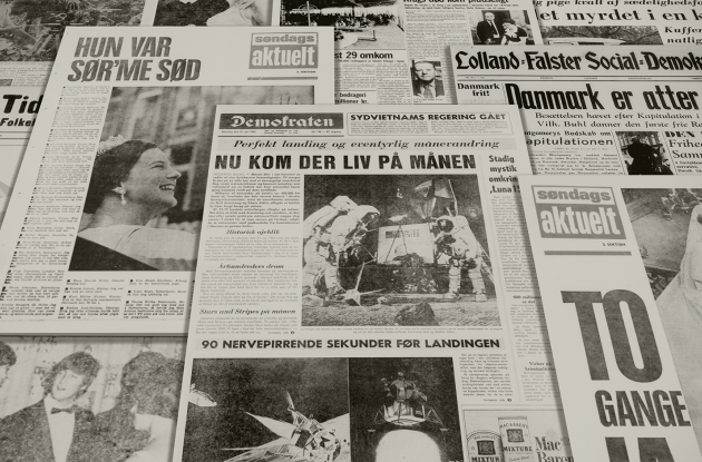 Historical Danish newspaper front pages