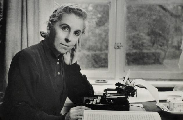 Karen Blixen at her desk