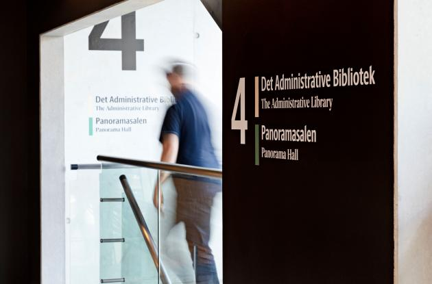 Signage for the Administrative Library. The Black Diamond