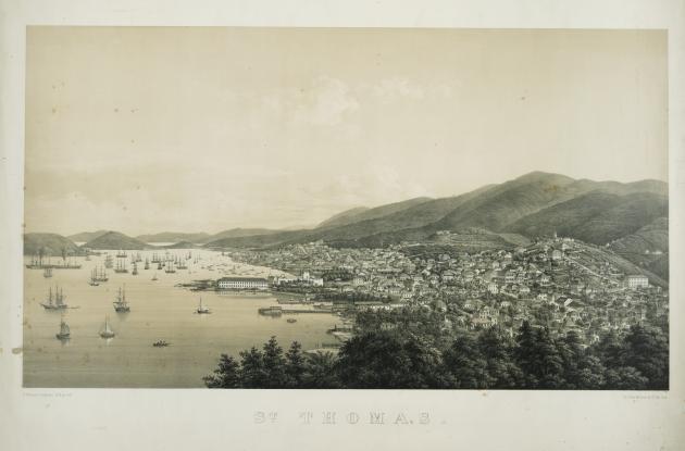 Prospekt over havnen på St. Thomas
