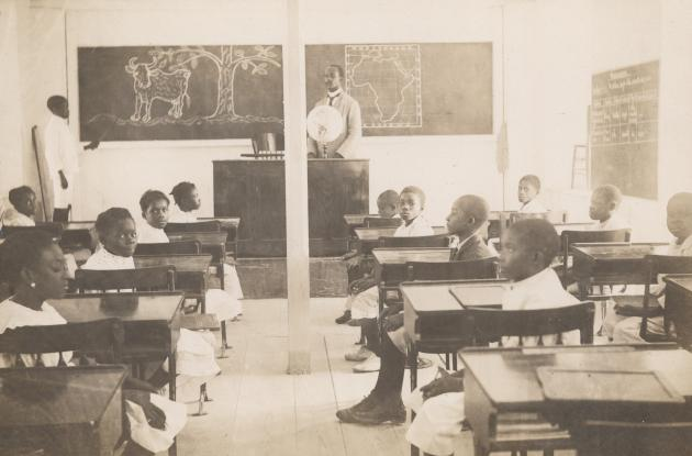 A classroom at a school in the Danish West Indies in 1860