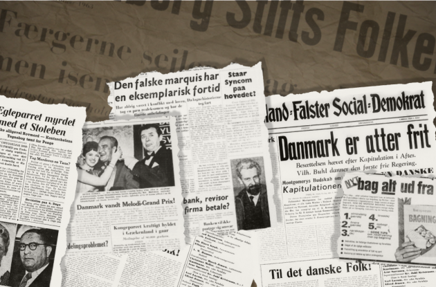 Excerpts from historical Danish newspaper pages