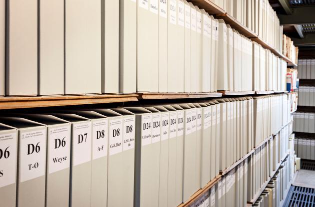 The shelves in Det Kgl. Bibliotek's orchestral collection