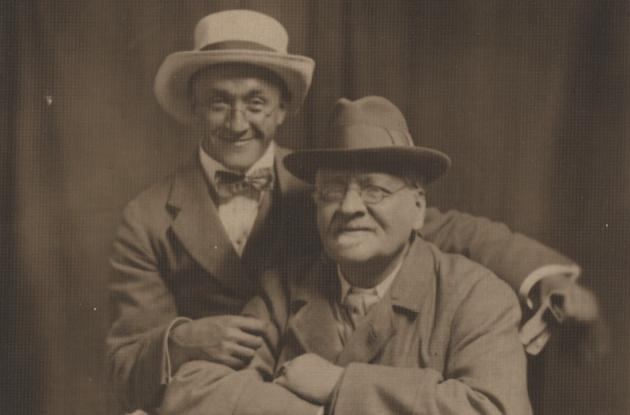 Author Poul Andræ with another man on a postcard
