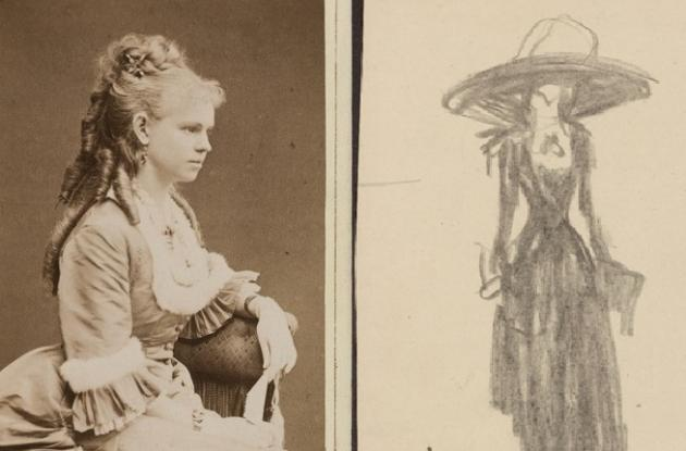 Photograph of Siri von Essen and drawing of Marie David