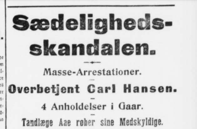 Newspaper page with the headline The Morality Scandal