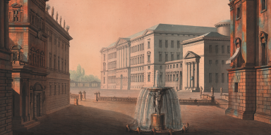 Painting with motif of theater building and fountain 1815