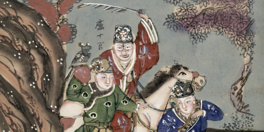 Color drawing of oriental warriors