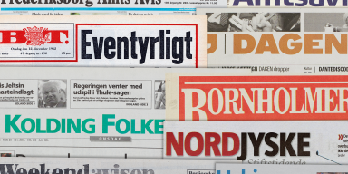 Cover pages from a selection of Danish newspapers and dailies