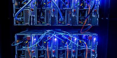 Server. Interior with LEDs