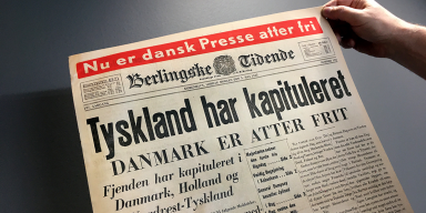 Front page of the newspaper Berlingske Tidende. The message of liberation May 1945