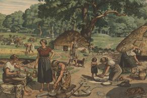 Anskuelsesbillede for yngre stenalder. Folk på boplads