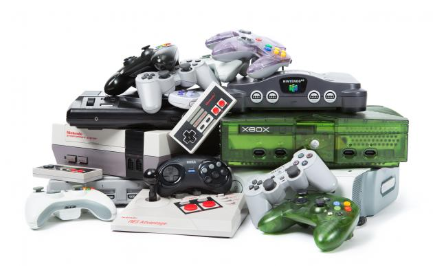 Pile of game consoles