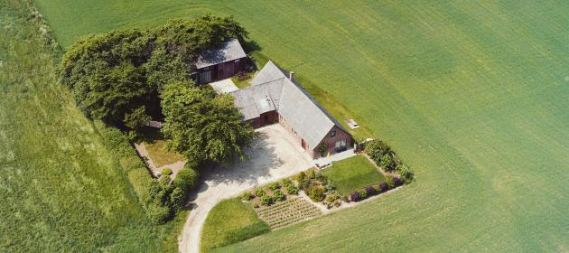 Aerial photo of Danish country estate