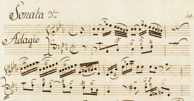 Sheet music: first page of Morten Ræh's Sonata no. 3