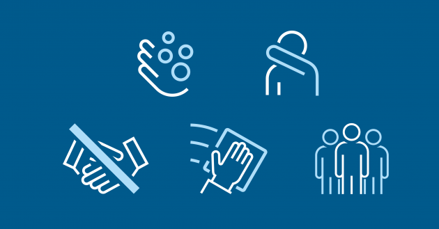 Icons: The Danish Health and Medicines Authority's recommendations for prevention