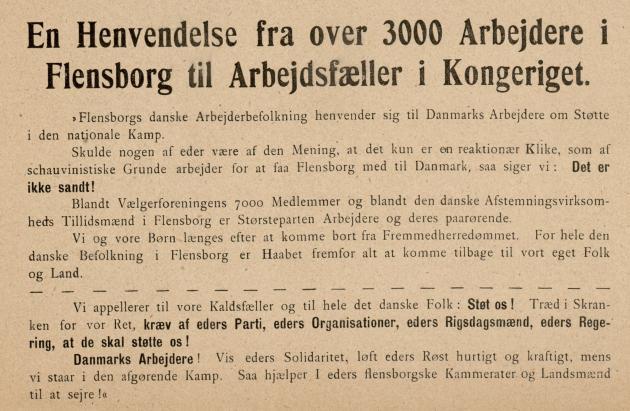 En Henvendelse fra over 3000 Arbejdere i Flensborg til Arbejdsfæller i Kongeriget