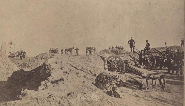 Prøjsiske soldater på skanserne ved Dybbøl i 1864.