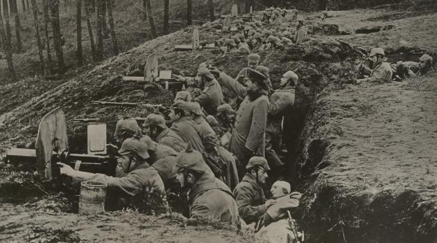 Første Verdenskrig. Tyske Maskingeværer ved Østfronten