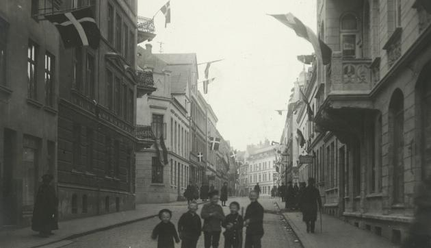 Flagning i forbindelse med folkeafstemningen i Flensborg, 1920.