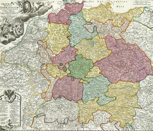 Det Tysk-Romerske Rige (ca. 1715) der brød sammen ved krigen mellem Preussen og Østrig.