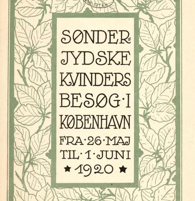 "Bogforside ""Sønderjyske Kvinder"", Genforeningen"