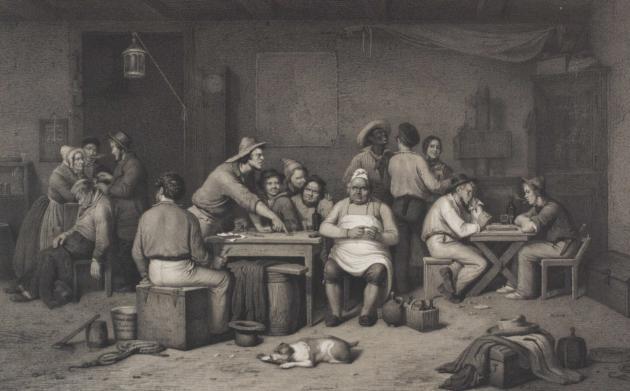 Søfolk drikker øl på i værtshus i 1800-tallet