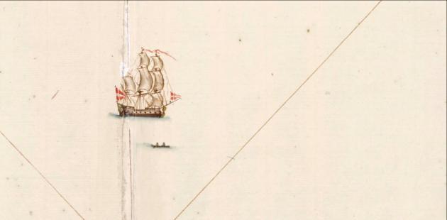 Ostindienfarer, udsnit fra søkort, 1730