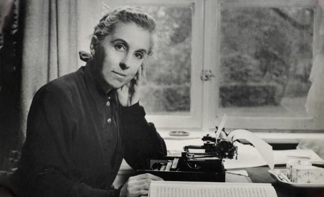 Karen Blixen at her desk