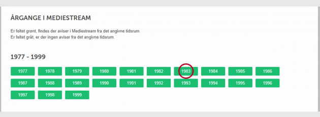 Screenshot fra Mediestream søge interface