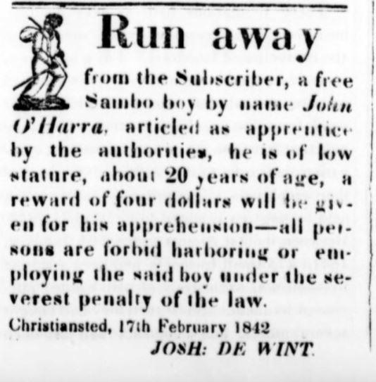 Eftersøgningsannonce efter bortløben slave
