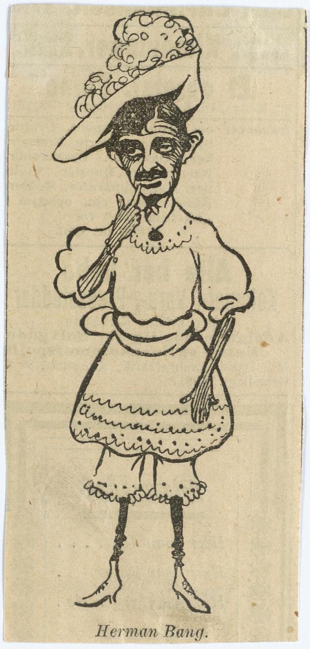 Karikaturtegning af forfatter Herman Bang i kjole