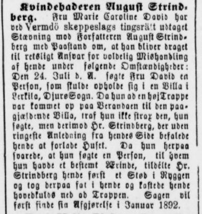 Side fra Silkeborg Avis om August Strindbergs overfald på Marie David