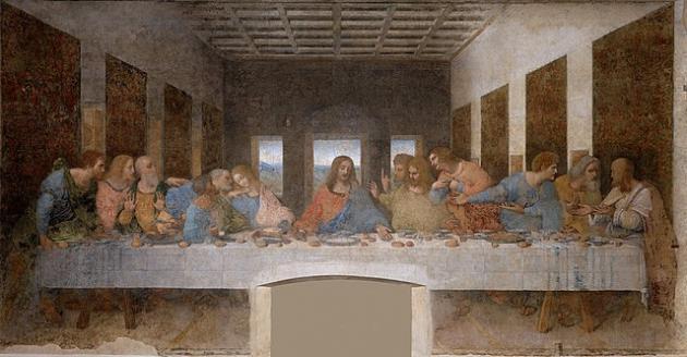 """Leonardo da Vincis berømte vægmaleri """"Den sidste nadver"""", hvor Jesus sidder ved et bord omringet af sine 12 apostle."""