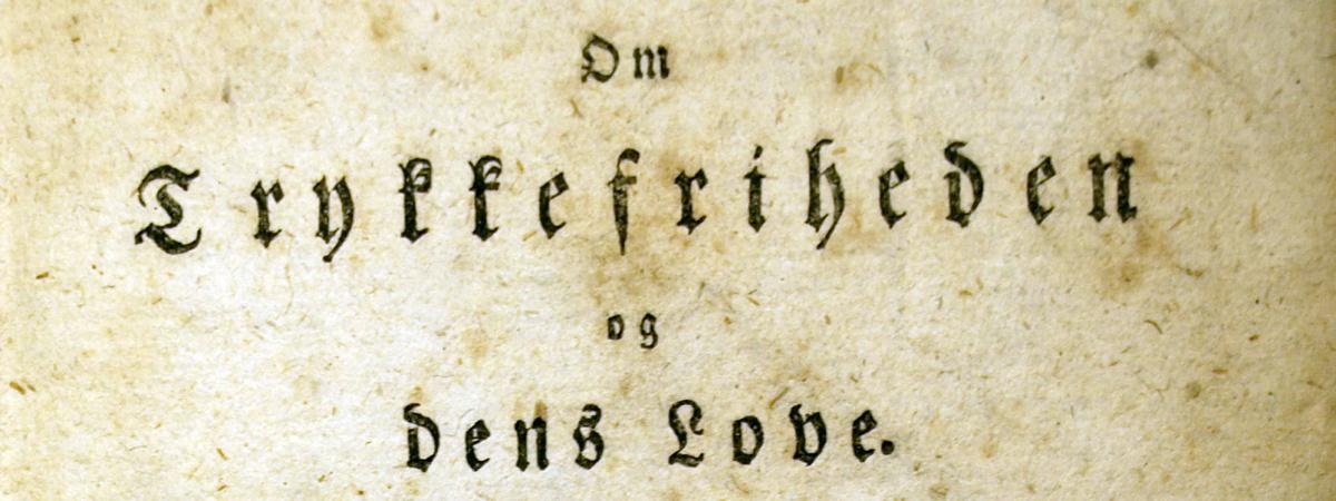 """Titelbladet til  M.G. Birckners """"Om Trykkefriheden og dens Love"""" 1797"""